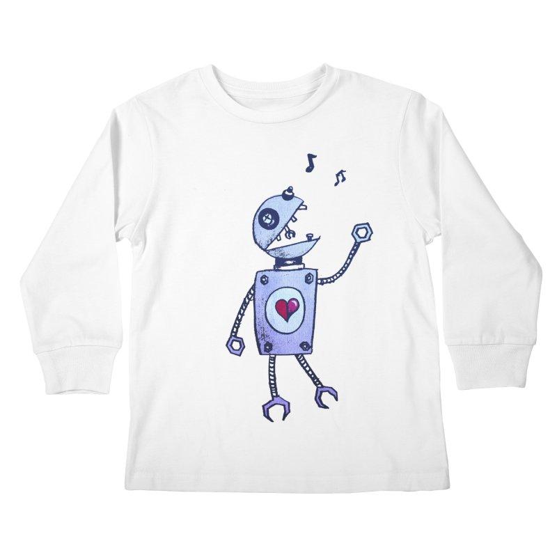 Happy Cartoon Singing Robot Kids Longsleeve T-Shirt by Boriana's Artist Shop