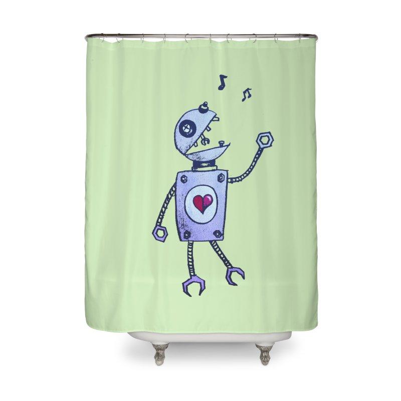 Happy Cartoon Singing Robot Home Shower Curtain by Boriana's Artist Shop