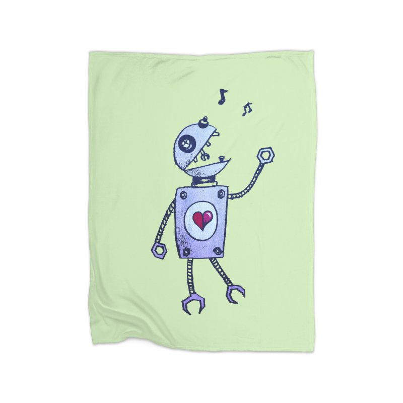 Happy Cartoon Singing Robot Home Blanket by Boriana's Artist Shop