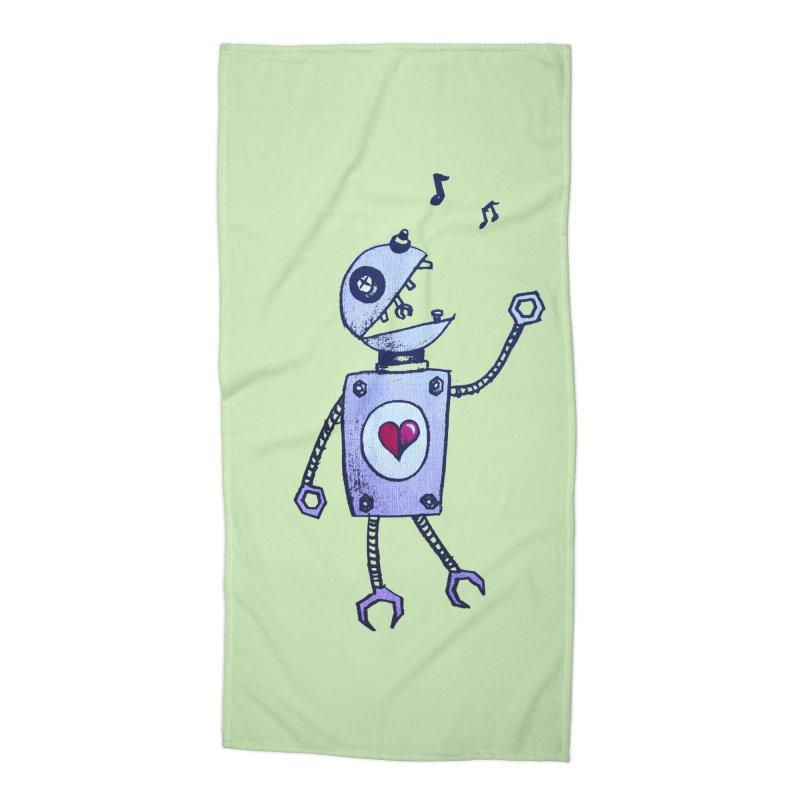 Happy Cartoon Singing Robot Accessories Beach Towel by Boriana's Artist Shop