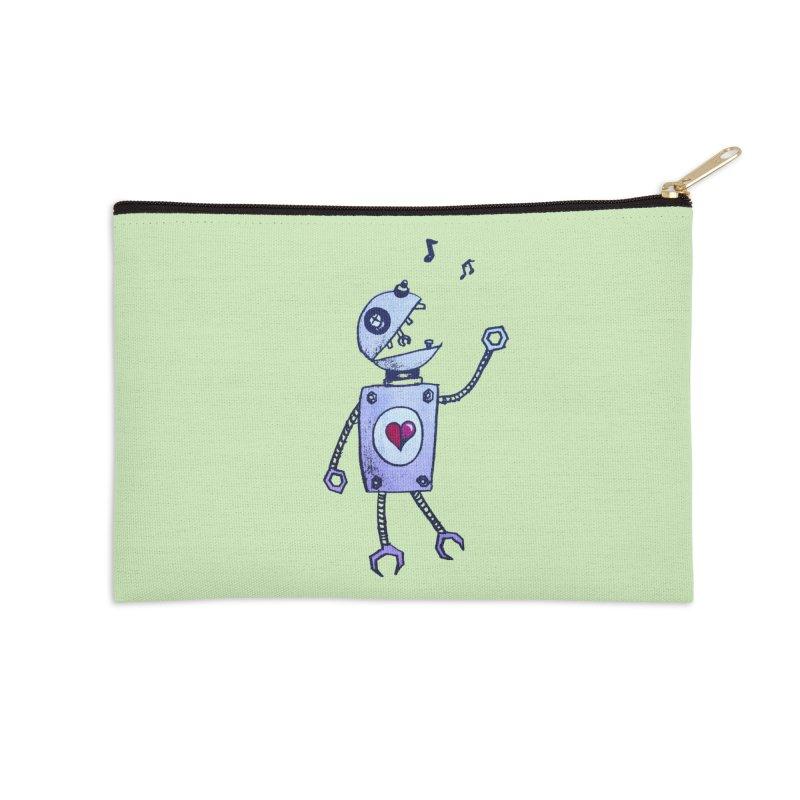 Happy Cartoon Singing Robot Accessories Zip Pouch by Boriana's Artist Shop