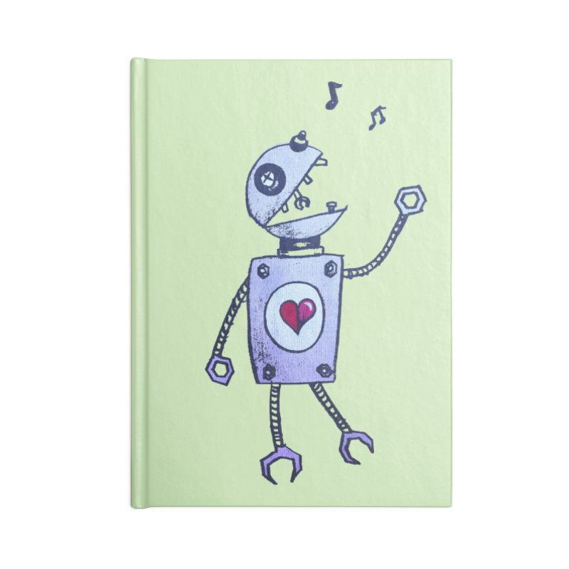Happy Cartoon Singing Robot Accessories Notebook by Boriana's Artist Shop