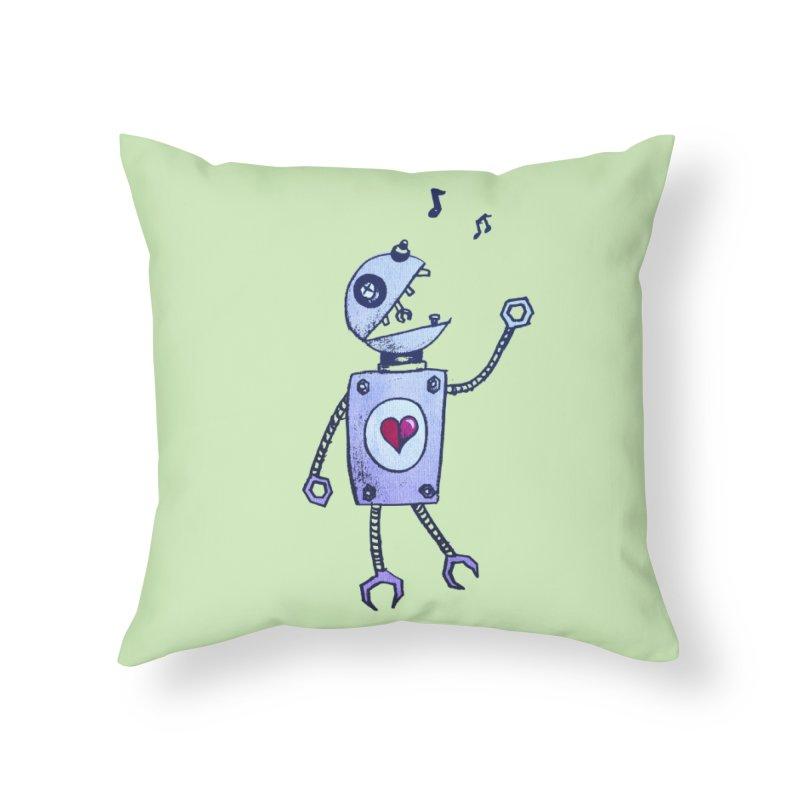 Happy Cartoon Singing Robot Home Throw Pillow by Boriana's Artist Shop