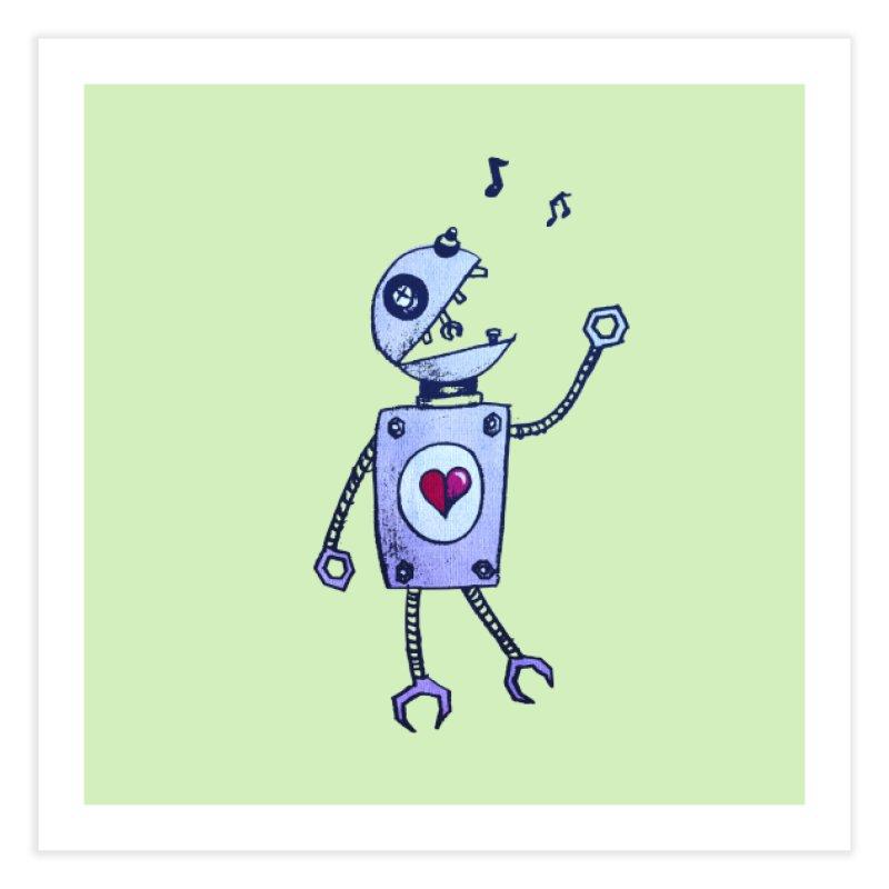 Happy Cartoon Singing Robot Home Fine Art Print by Boriana's Artist Shop