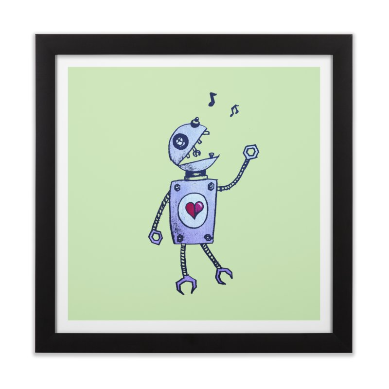 Happy Cartoon Singing Robot Home Framed Fine Art Print by Boriana's Artist Shop