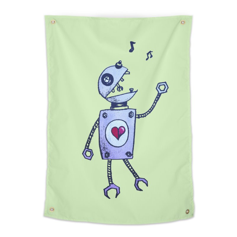 Happy Cartoon Singing Robot Home Tapestry by Boriana's Artist Shop