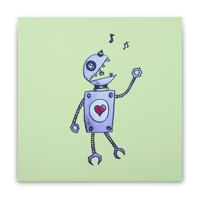 Happy Cartoon Singing Robot Home Stretched Canvas by Boriana's Artist Shop