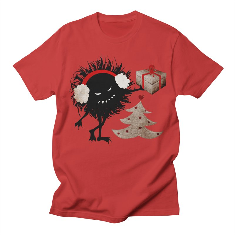 Evil Bug With Christmas Present in Men's T-Shirt Red by Boriana's Artist Shop