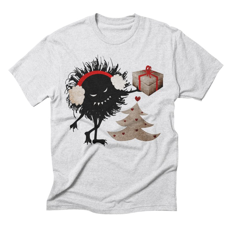 Evil Bug With Christmas Present Men's Triblend T-shirt by Boriana's Artist Shop