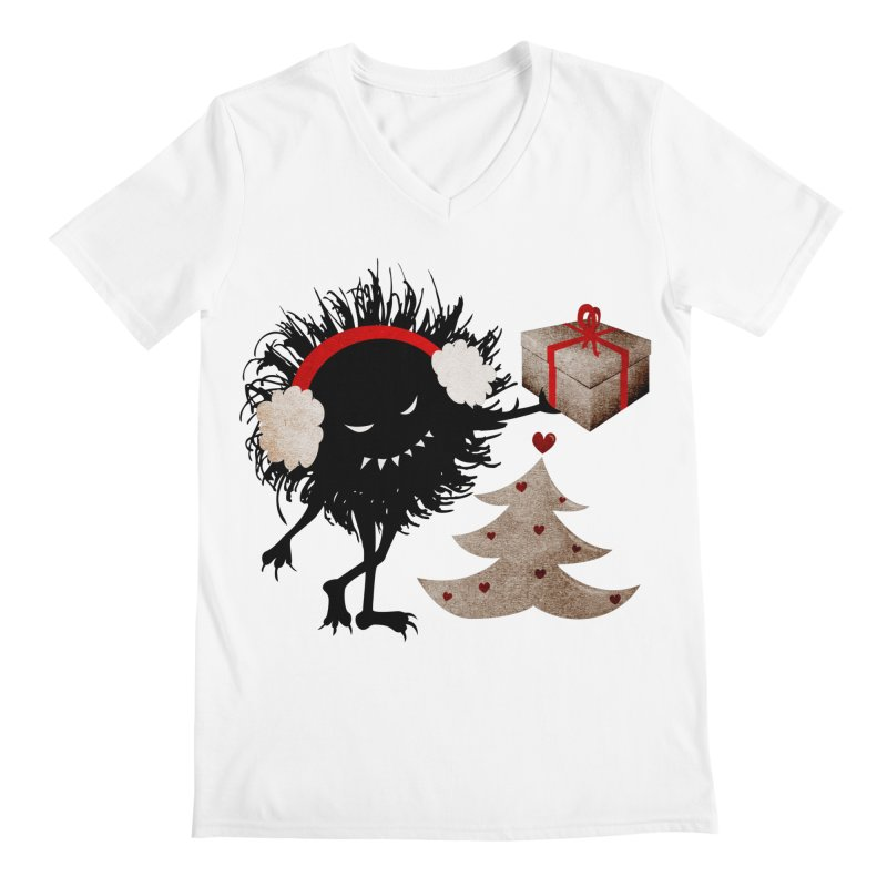 Evil Bug With Christmas Present Men's V-Neck by Boriana's Artist Shop