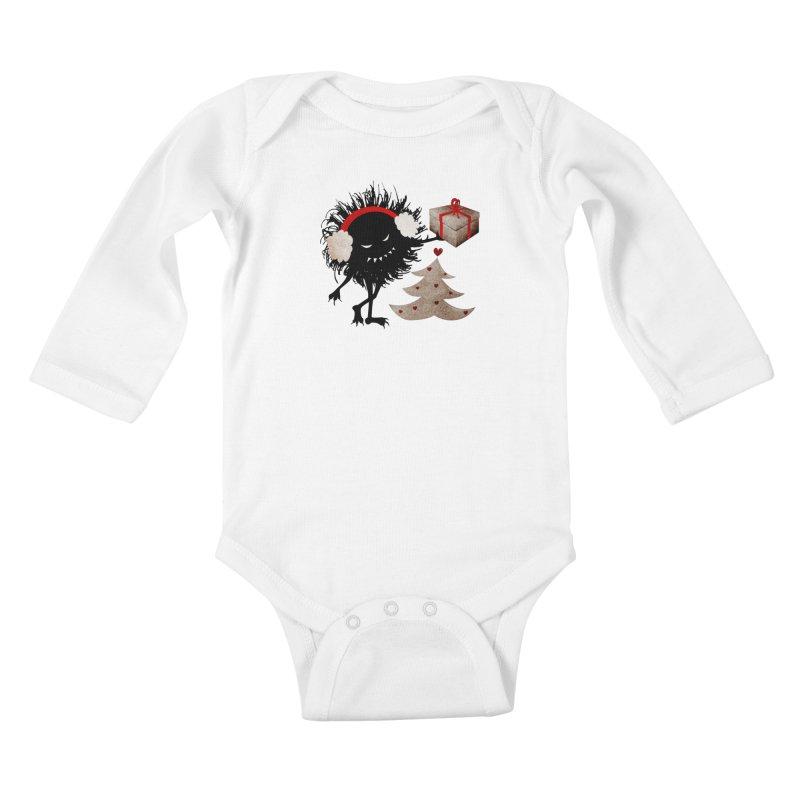 Evil Bug With Christmas Present Kids Baby Longsleeve Bodysuit by Boriana's Artist Shop