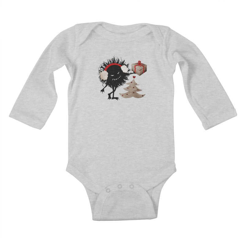 Evil Bug With Christmas Present Kids Baby Longsleeve Bodysuit by Boriana's Artist Shop
