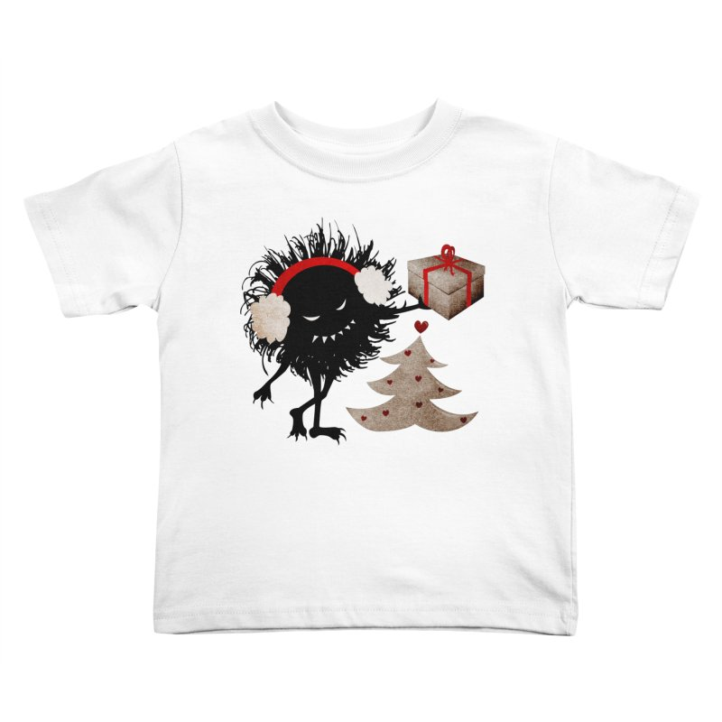 Evil Bug With Christmas Present Kids Toddler T-Shirt by Boriana's Artist Shop