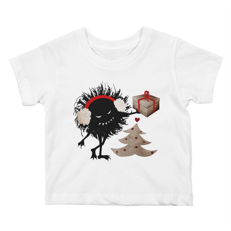 Evil Bug With Christmas Present Kids Baby T-Shirt by Boriana's Artist Shop