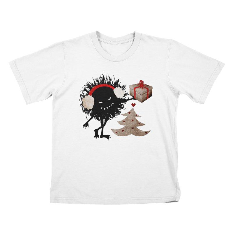 Evil Bug With Christmas Present Kids T-shirt by Boriana's Artist Shop