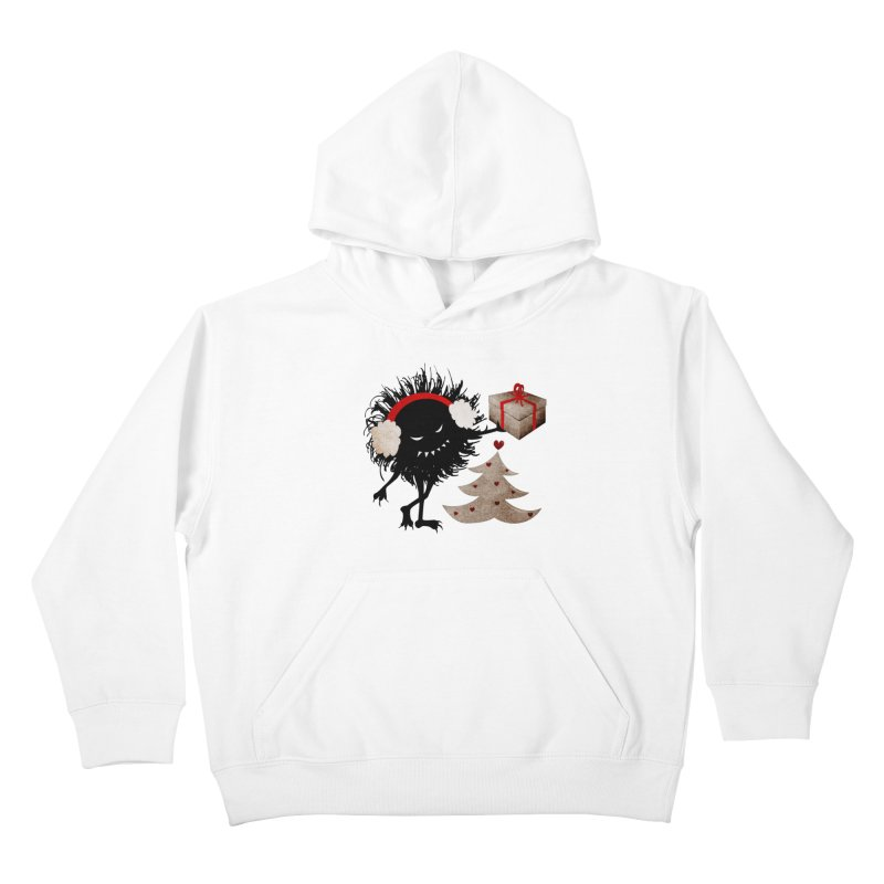 Evil Bug With Christmas Present Kids Pullover Hoody by Boriana's Artist Shop