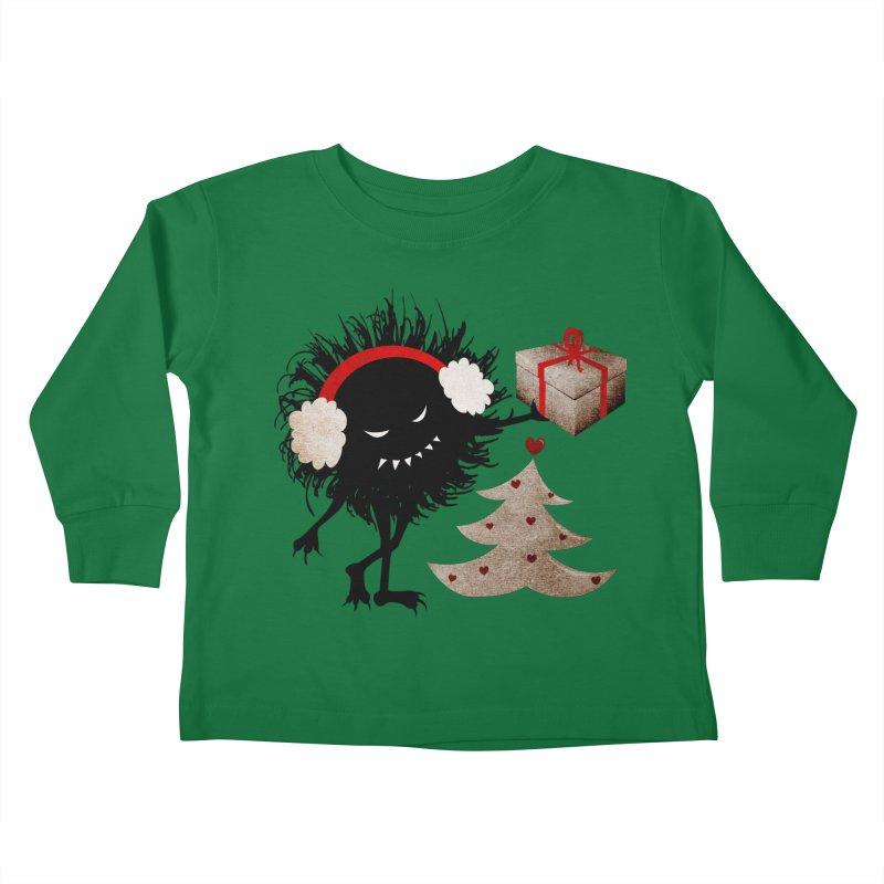 Evil Bug With Christmas Present Kids Toddler Longsleeve T-Shirt by Boriana's Artist Shop