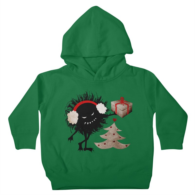 Evil Bug With Christmas Present Kids Toddler Pullover Hoody by Boriana's Artist Shop