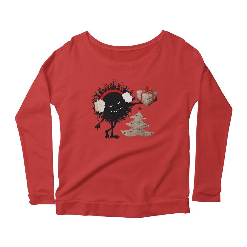 Evil Bug With Christmas Present Women's Longsleeve Scoopneck  by Boriana's Artist Shop