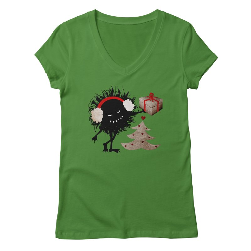 Evil Bug With Christmas Present Women's V-Neck by Boriana's Artist Shop