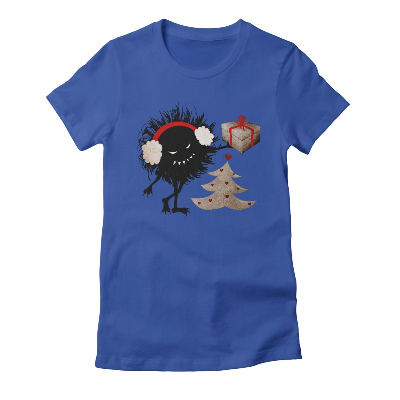 Evil Bug With Christmas Present Women's Fitted T-Shirt by Boriana's Artist Shop