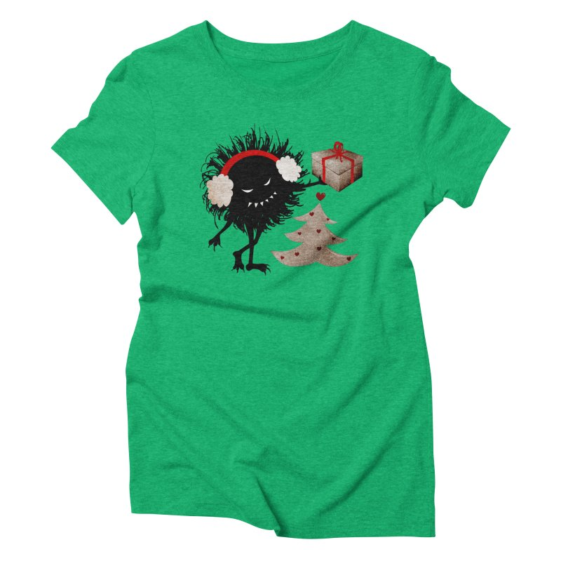 Evil Bug With Christmas Present Women's Triblend T-shirt by Boriana's Artist Shop