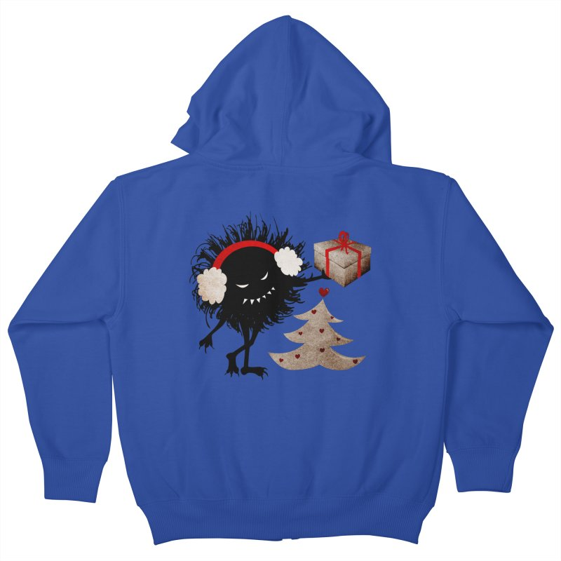 Evil Bug With Christmas Present Kids Zip-Up Hoody by Boriana's Artist Shop
