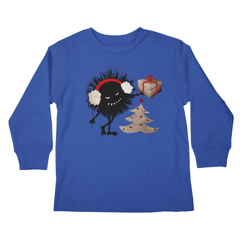 Evil Bug With Christmas Present Kids Longsleeve T-Shirt by Boriana's Artist Shop
