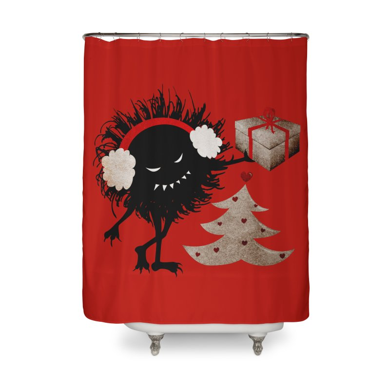 Evil Bug With Christmas Present Home Shower Curtain by Boriana's Artist Shop