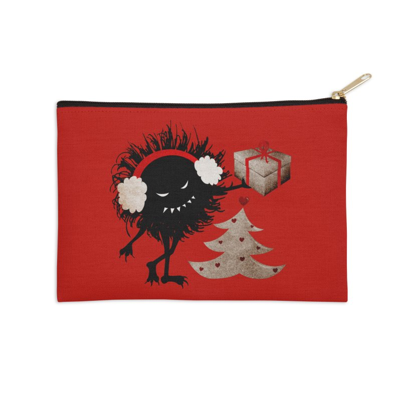 Evil Bug With Christmas Present Accessories Zip Pouch by Boriana's Artist Shop