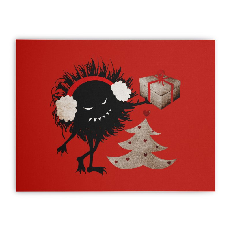 Evil Bug With Christmas Present Home Stretched Canvas by Boriana's Artist Shop