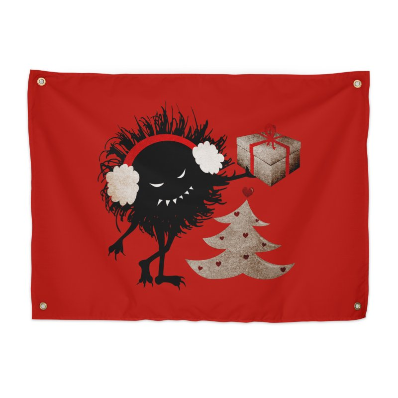 Evil Bug With Christmas Present Home Tapestry by Boriana's Artist Shop