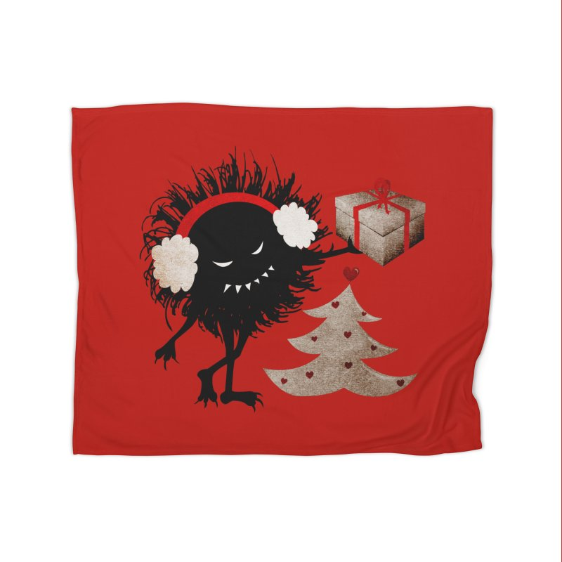 Evil Bug With Christmas Present Home Blanket by Boriana's Artist Shop