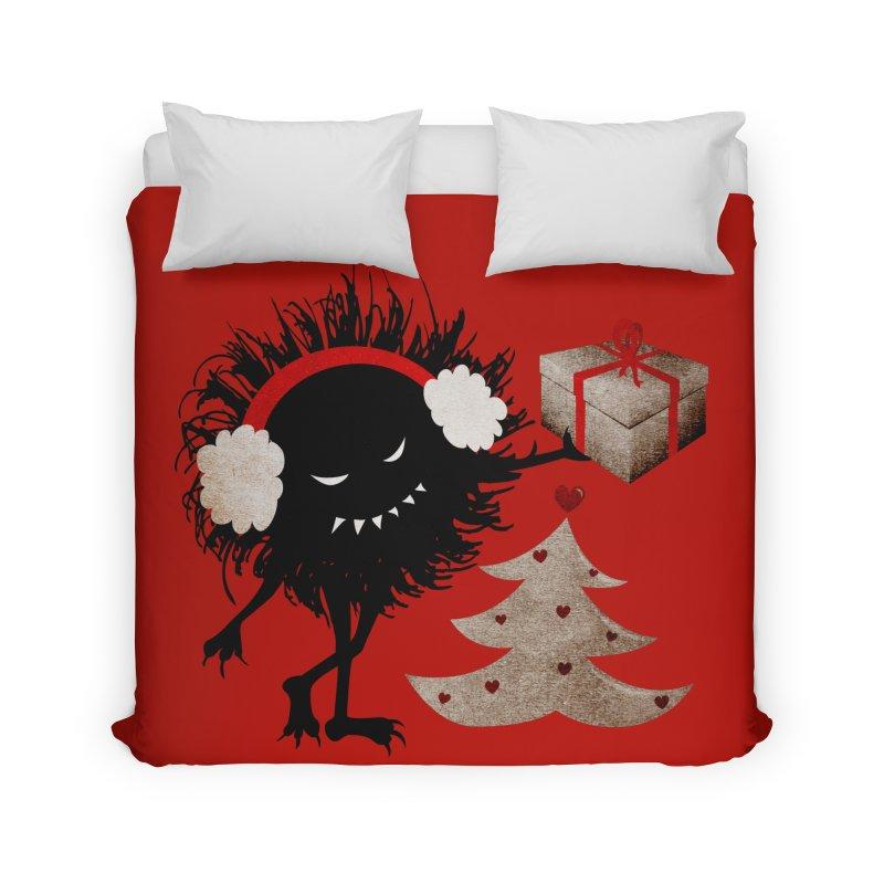 Evil Bug With Christmas Present Home Duvet by Boriana's Artist Shop