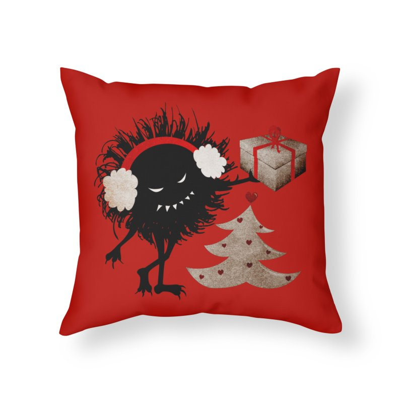 Evil Bug With Christmas Present Home Throw Pillow by Boriana's Artist Shop