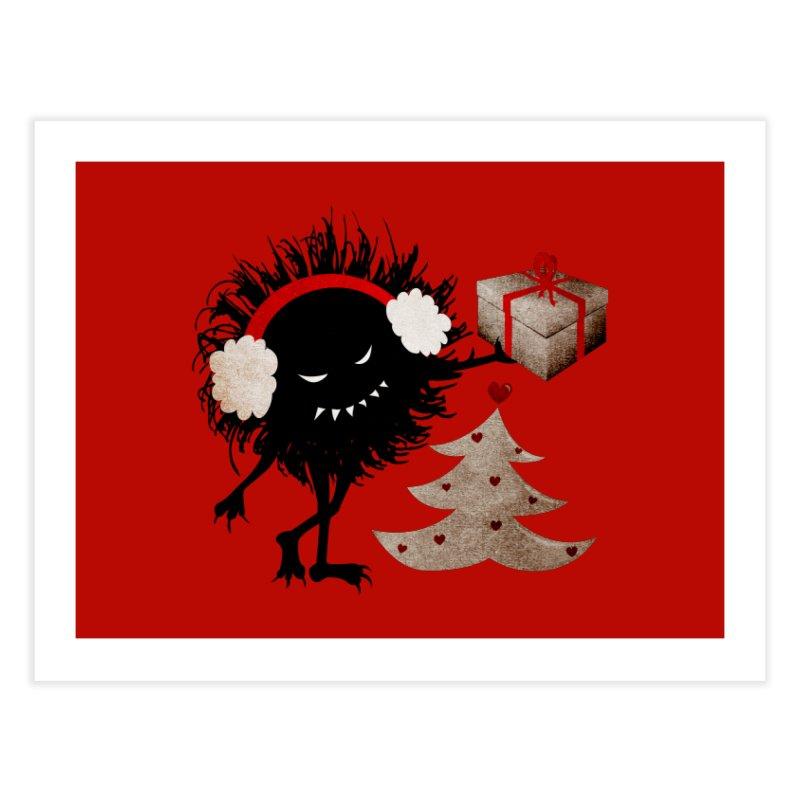 Evil Bug With Christmas Present Home Fine Art Print by Boriana's Artist Shop