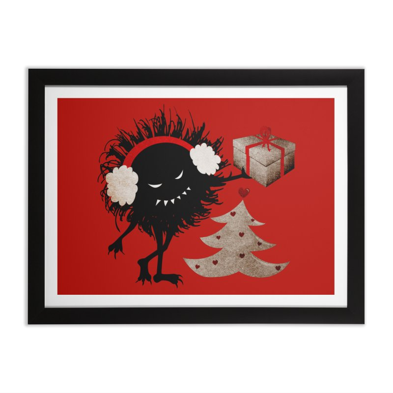 Evil Bug With Christmas Present Home Framed Fine Art Print by Boriana's Artist Shop