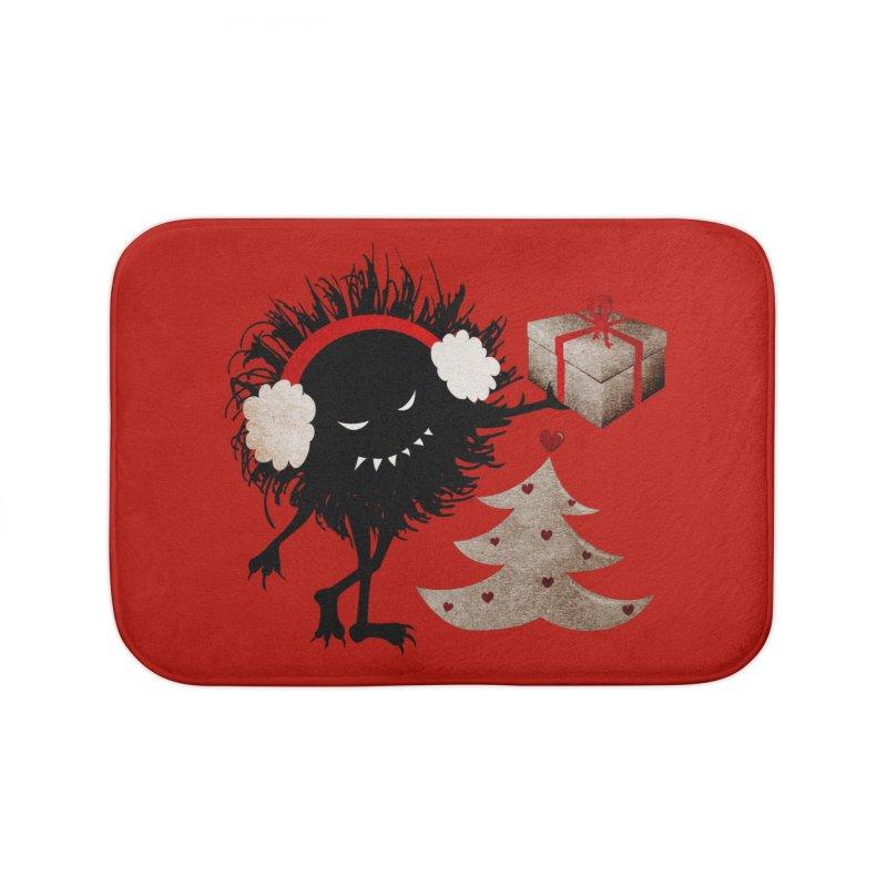 Evil Bug With Christmas Present Home Bath Mat by Boriana's Artist Shop