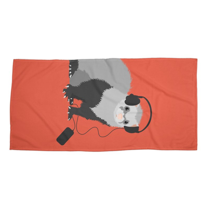 Funny Music Lover Ferret Accessories Beach Towel by Boriana's Artist Shop