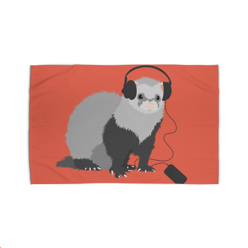 Funny Music Lover Ferret Home Rug by Boriana's Artist Shop