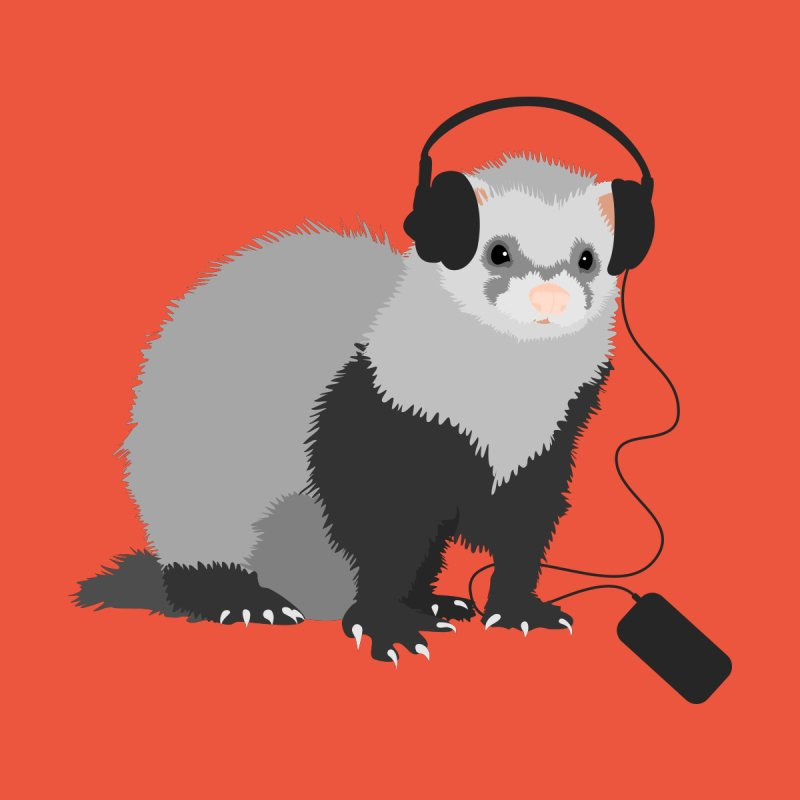 Funny Music Lover Ferret by Boriana's Artist Shop