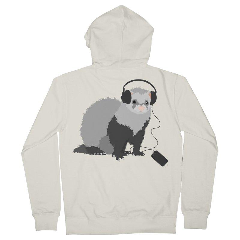 Funny Music Lover Ferret Men's Zip-Up Hoody by Boriana's Artist Shop