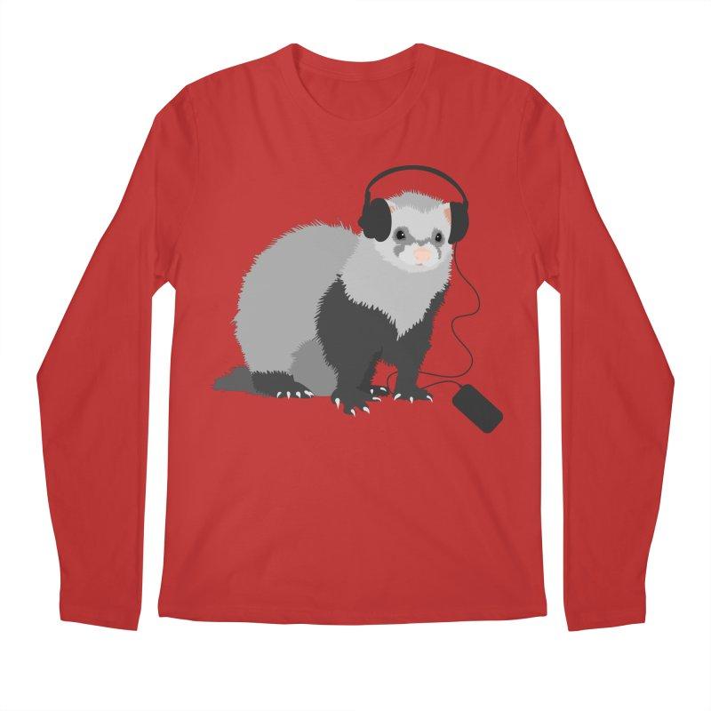 Funny Music Lover Ferret Men's Longsleeve T-Shirt by Boriana's Artist Shop