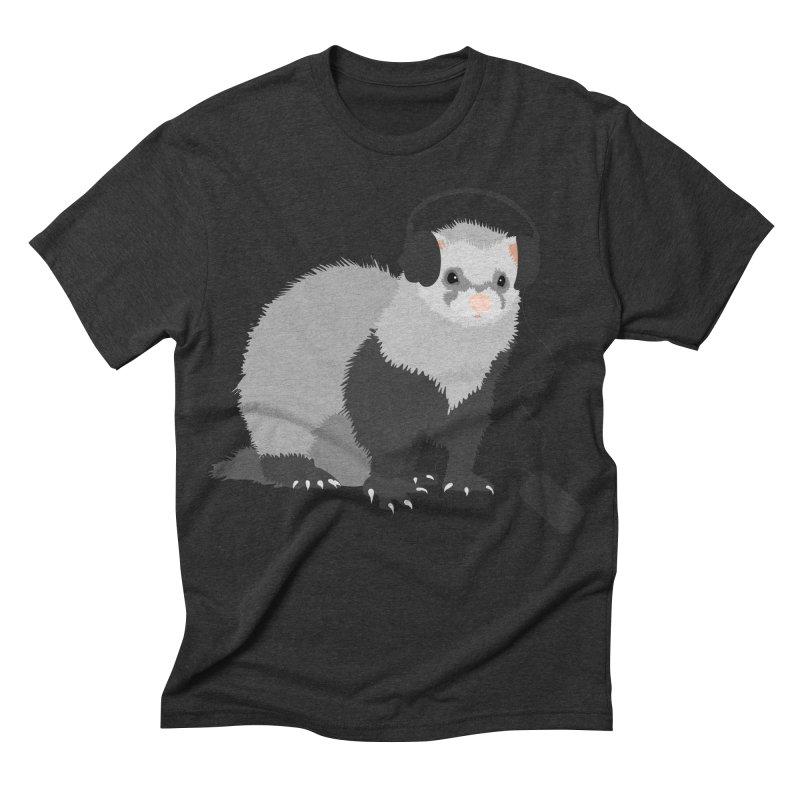 Funny Music Lover Ferret Men's Triblend T-shirt by Boriana's Artist Shop
