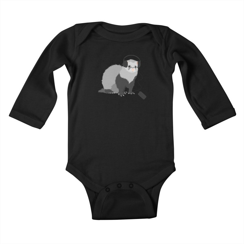Funny Music Lover Ferret Kids Baby Longsleeve Bodysuit by Boriana's Artist Shop
