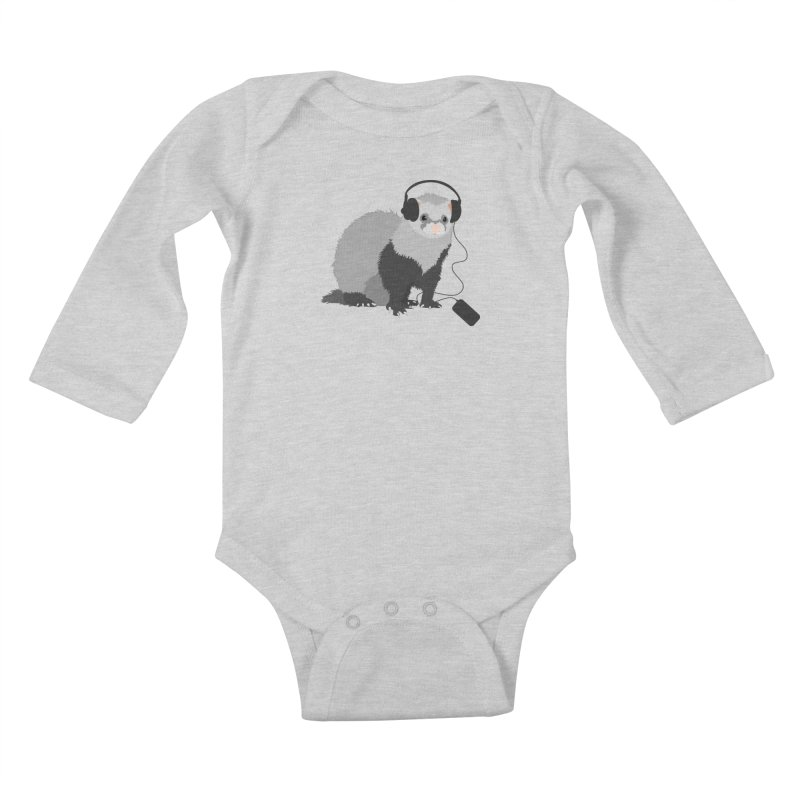 Funny Music Lover Ferret Kids Baby Longsleeve Bodysuit by Boriana's Artist Shop