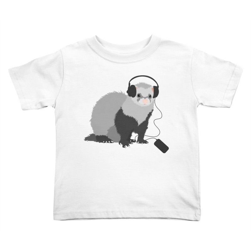 Funny Music Lover Ferret Kids Toddler T-Shirt by Boriana's Artist Shop