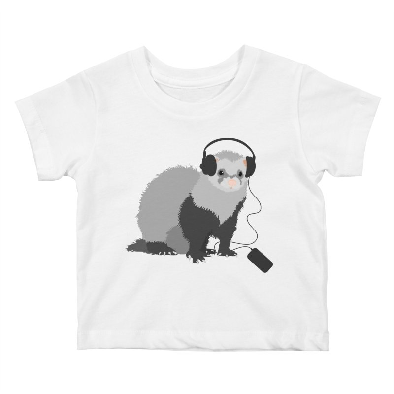 Funny Music Lover Ferret Kids Baby T-Shirt by Boriana's Artist Shop