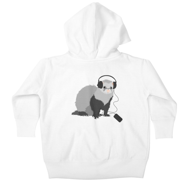 Funny Music Lover Ferret Kids Baby Zip-Up Hoody by Boriana's Artist Shop
