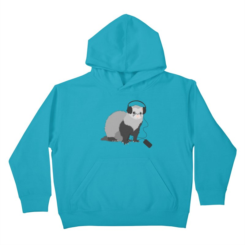 Funny Music Lover Ferret Kids Pullover Hoody by Boriana's Artist Shop